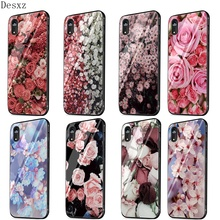 Mobile Phone Case Glass for iPhone 11 Pro X XS XR Max iPhone 6 6s 7 8 Plus 5 5s Cover Large swath of pink flowers Cute