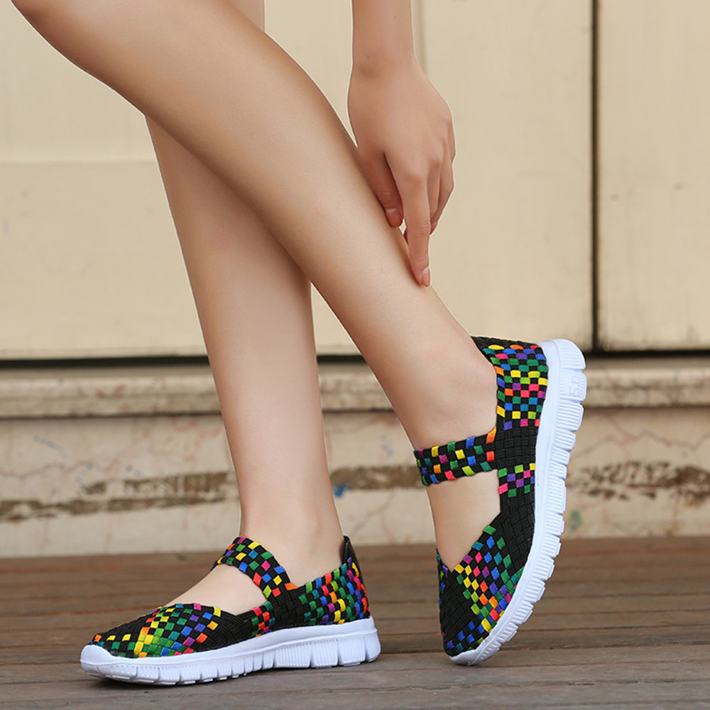 Flat Sandals Women Shoes Sports Breathable Femmes Fashion Woven Casual No Chaussures