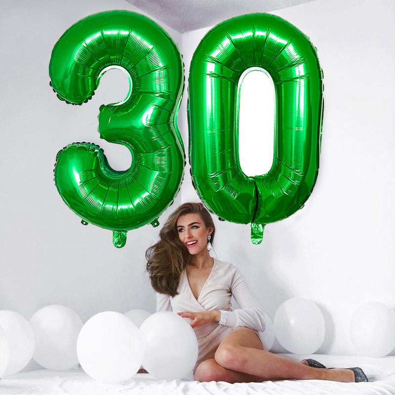 32 40 inch Green <font><b>Number</b></font> Foil <font><b>Balloons</b></font> 0 1 2 3 4 5 6 7 <font><b>8</b></font> 9 Helium Green <font><b>Balloon</b></font> Happy Birthday Party Wedding Decoration Supplies image