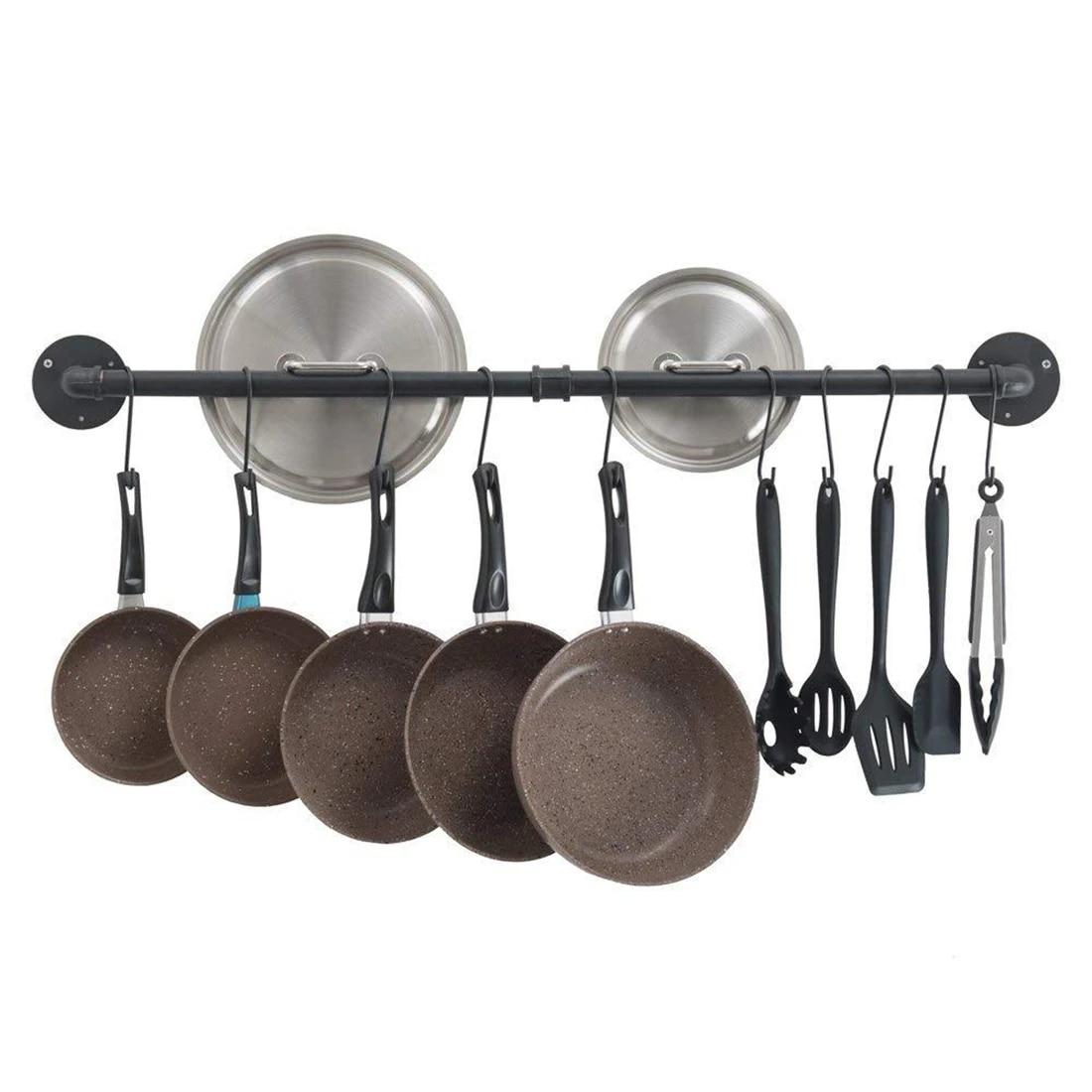 Picture of: 12 X 80cm Kitchen Storage Shelf Hanging Pot Rack Kitchen Wall Pot Pan Rack With 10 Hooks Racks Holders Aliexpress