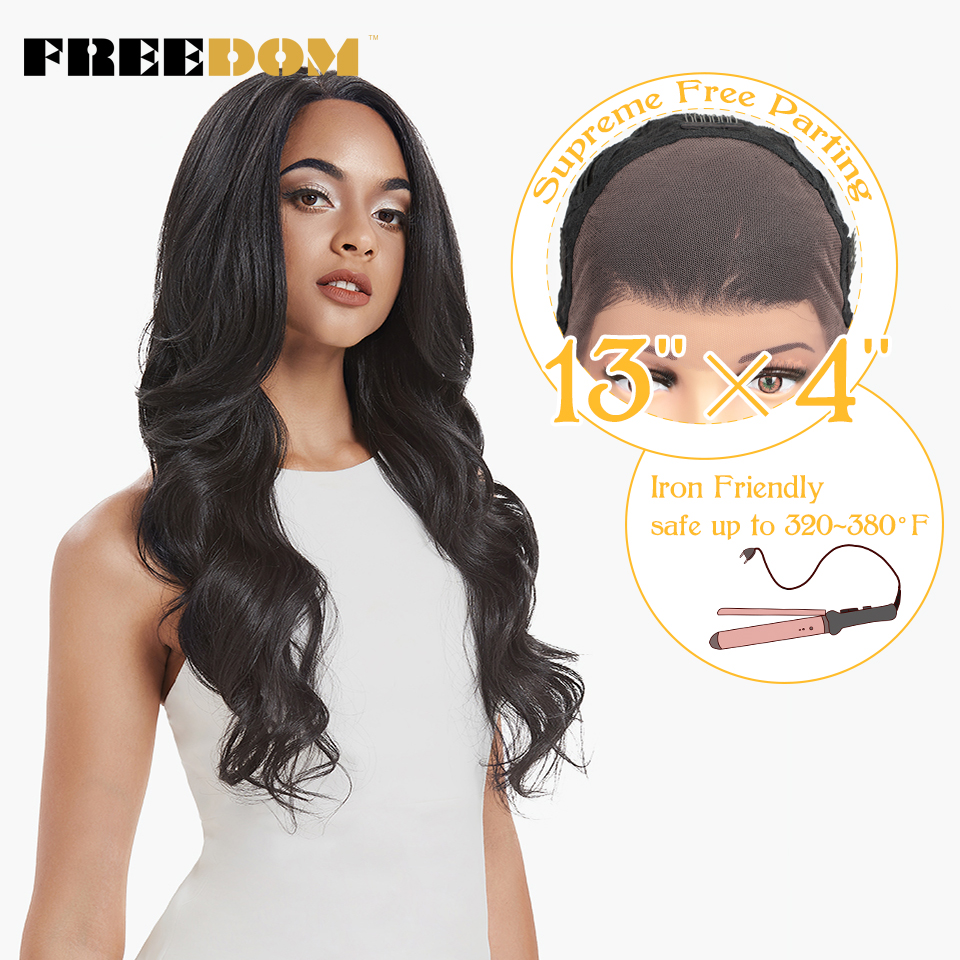 FREEDOM Supreme Free Parting Synthetic Lace Front Wigs Ombre Blond Wigs For Black Women High Temperature 150% Density Amazon HOT