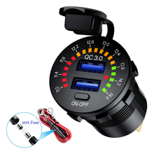 12V 24V QC 3.0 Dual USB Car Charger Waterproof 18W USB Outlet Fast Charge with LED Voltmeter ON OFF Switch Power Cable for Car