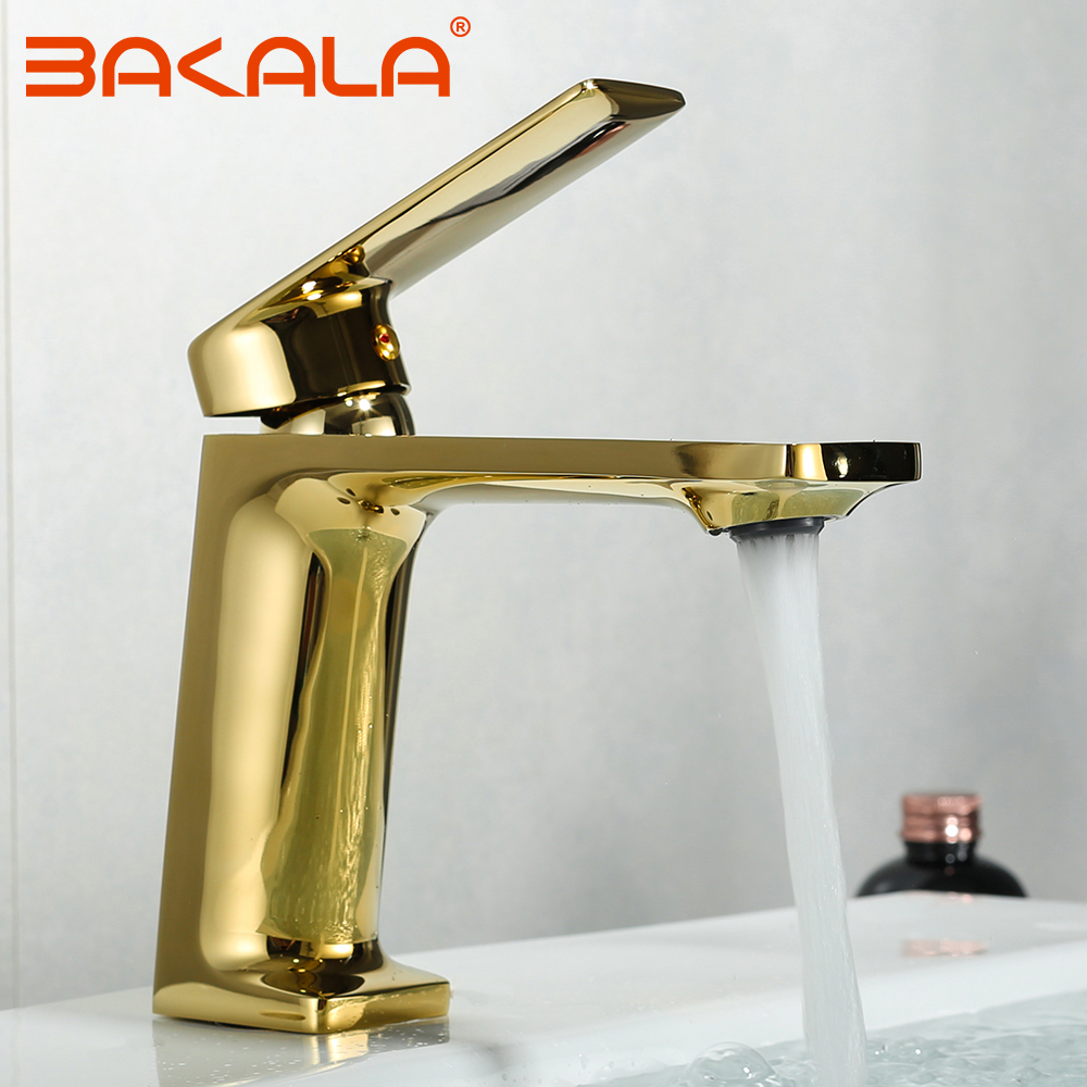 BAKALA bassin robinet salle de bain évier robinet mitigeur trou doré robinet bassin robinets pont Vintage lavage chaud froid mélangeur robinet grue