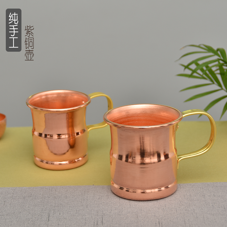 Handmade pure copper thickened retro tea water cup teacup beer cup milk coffee cup travel small mug drinkware