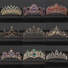Vintage barroco reina tiara corona de novia diadema nupcial oro Cristal Diamantes de imitación cabeza joyería tocado boda accesorios para el cabello