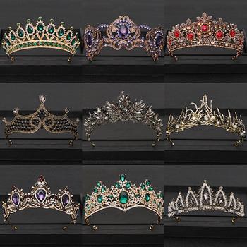 Vintage barokowa królowa Tiara ślubna korona ślubna Diadem złoty kryształ głowa ze strasem biżuteria chluba ślubna akcesoria do włosów tanie i dobre opinie AiliBride Miedzi Kobiety PLANT Klasyczny Tiary Hairwear Moda