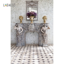 Laeacco Sculpture Fireplace Mirror Flowers Vase Vintage Wall Floor Photography Backgrounds Grunge Backdrops Christmas Photophone