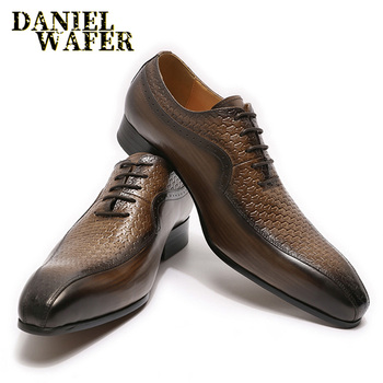 LUXURY BRAND MEN OXFORDS SHOES BLACK BROWN POINTED TOE LACE UP OFFICE BUSINESS WEDDING GENUINE LEATHER SHOES MEN FORMAL SHOES 2019 men shoes spring summer formal genuine leather business casual shoes men dress office luxury shoes male oxfords