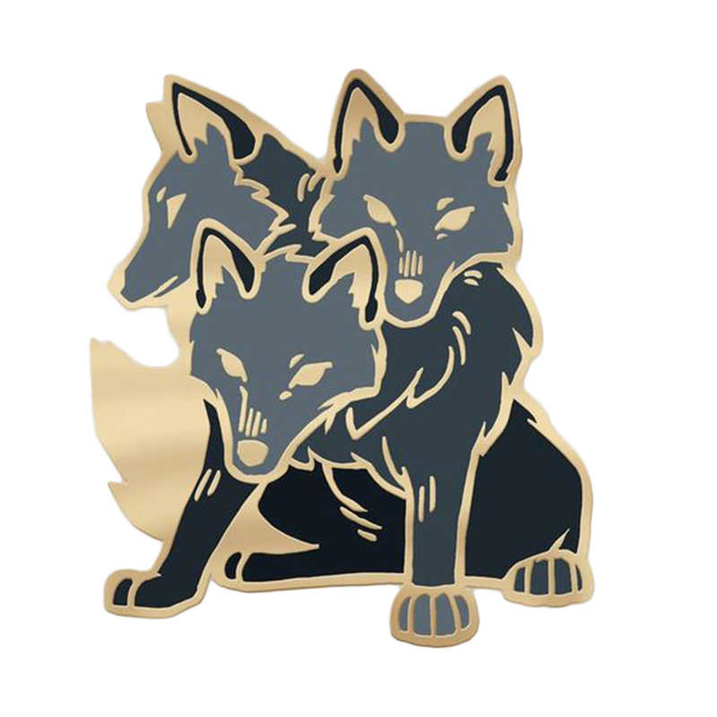 Tre lupi testa pin animale di Halloween di orrore regalo irritabile spooky distintivo