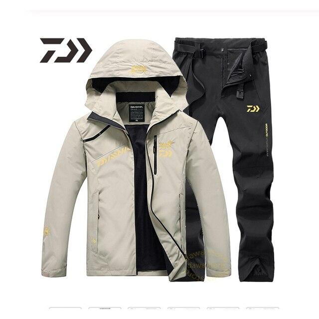 Мужской рыболовный костюм куртка брюки непромокаемая ткань и тёплая подкладка 3