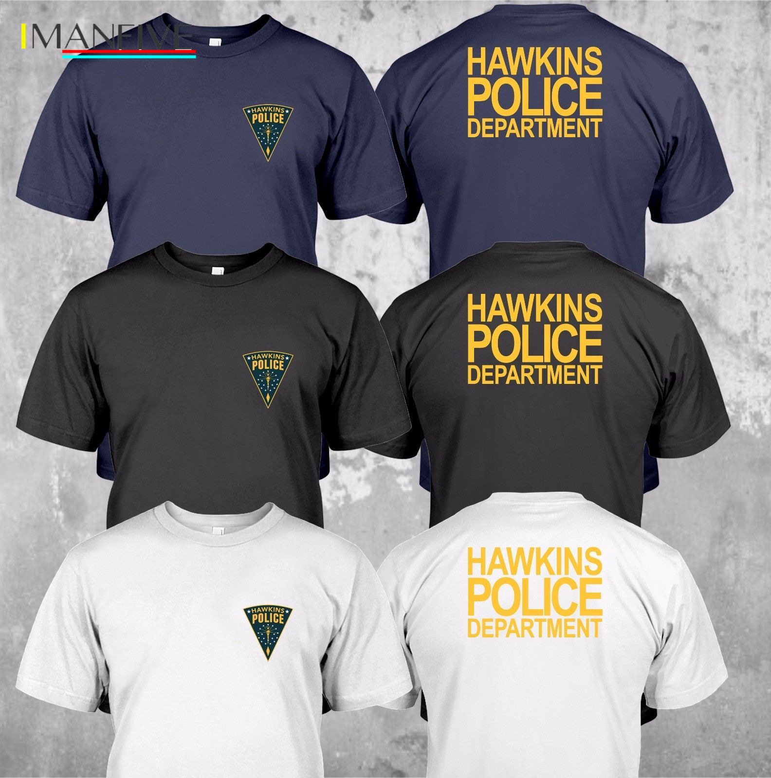 2019 NEW Hawkins Police Department State Logo Custom T Shirt Tee Summer Fashion Tee Shirt in T Shirts from Men 39 s Clothing