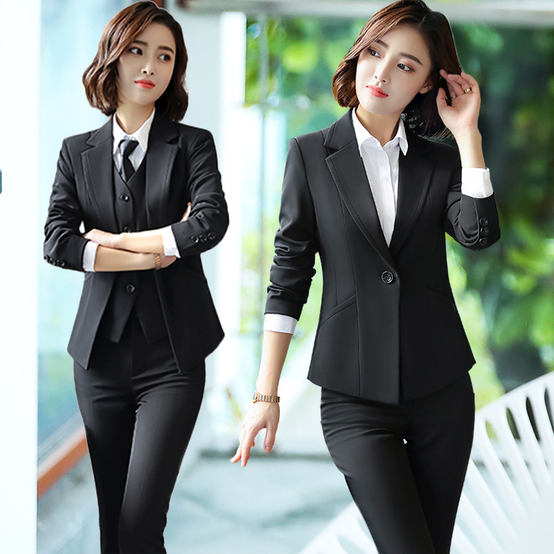 2020 Fashion Female Elegant Business Pant Suits Office Uniform Formal OL Long Pant Blazer And Pants  2 Piece Set Jacket Trousers