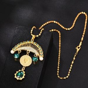 Image 5 - Collar con colgante turco islámico musulmán para mujer, joyas con monedas de cristal, estilo étnico árabe, Oriente Medio