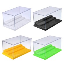 1pc Dustproof ShowCase Gray Base 3 Steps Display Box Acrylic Plastic Display Box Case 25.5X15.5X13.8cm Compatible All Brands