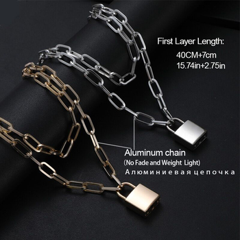 Lock Chain Necklace With A Padlock Pendants For Women Men Punk Jewelry On The Neck 2020 Grunge Aesthetic Egirl Eboy Accessories 2