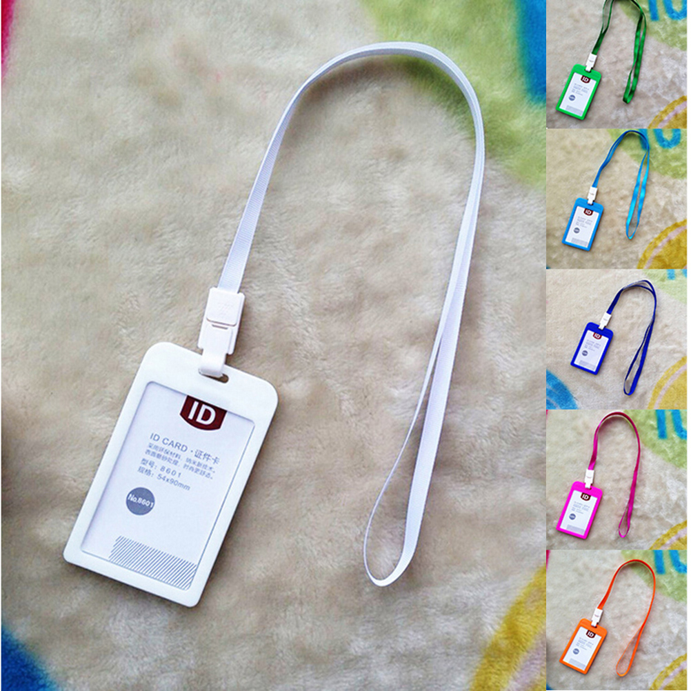 1pcs Candy Colors ID Card Holder Name Exhibition Cards Neck Strap Business Badge Holder With Lanyard School Office Supplies