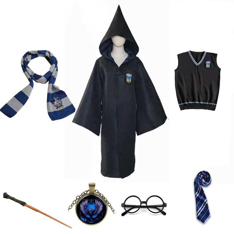 Халат для детей и взрослых Когтевран свитер шарф галстук костюм годрическая Гермиона Волшебная школьная форма пуффендуй Хэллоуин