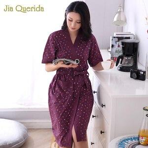 Image 4 - Mới Size + Bộ Đồ Ngủ Nữ Mùa Hè Quần Short Áo Choàng Tắm Cotton Lót Áo Choàng Tắm Cotton Nhà Quần Áo Kimono Họa Tiết Hoa Nữ Tắm Áo Choàng