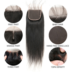 Image 5 - MIHAIR Straight Hair Bundles With Closure Indian Remy Human Hair Bundles With 4*4 Lace Closure Double Weft Bundles With Closure