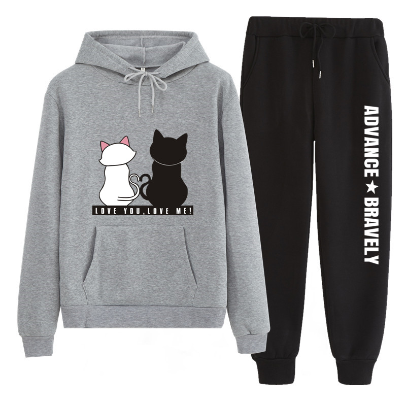 N202 New 2019 Cat Printing Brand Tracksuit Fashion Men/Women Sportswear Two Piece Sets Thick Hoodie+Pants Sporting Suit Male