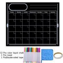 Placa preta magnética semanal calendário planejador mensal seco apagar geladeira memo apagável mensagem de escrita porta mesa parede adesivo crianças