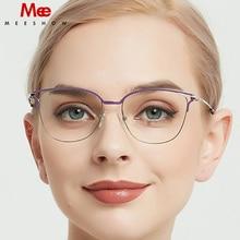 Meeshow Titanium Alloy Ultralight Glasses Frame Womens Fashion Cat Eye Myopia Optical Frame Europe Prescription Eyeglasses 2020