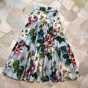 Designer Skirt High-Waist A-Line Floral-Printed Ladies Cotton Ankle-Length for Top-Quality