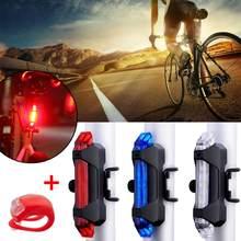 Usb recarregável luz da bicicleta 5led frente traseira traseira luzes traseiras ciclismo segurança luz de advertência à prova dwaterproof água mtb bicicleta lâmpada lanterna
