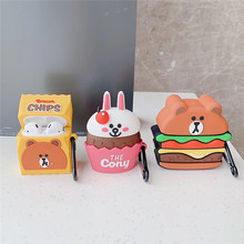 Cute Hamburg Bear Chips Brown 3D Cartoon Cony Silicone Earphone Case For Airpods 1 2 Accessories Headphone with Keychain