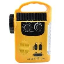 Cargador de teléfono móvil Radio, linterna Led Radio, linterna Led Radio, sirena, baterías recargables, manivela de mano, Radio a energía Solar