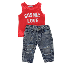 1-5Y Kids Girls Clothes Set Baby Girl Summer Red Cosmic Love Tank Top + Hole Pant Leggings 2PCS Outfit Children Clothing Set стоимость