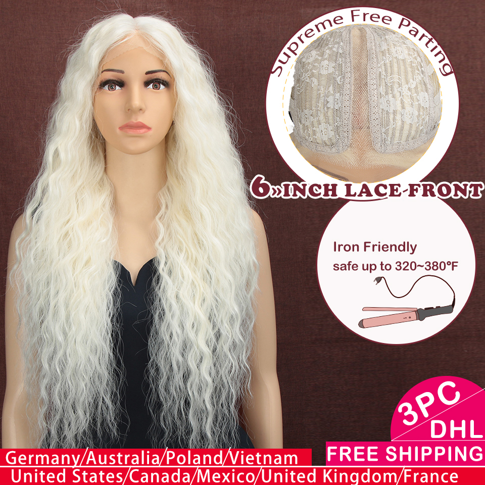 Synthetic Lace Front Wig Light Colour 76CM Brown Ombre Wigs For  Black Women Cosplay Afro Long Hair Curly Middle Part