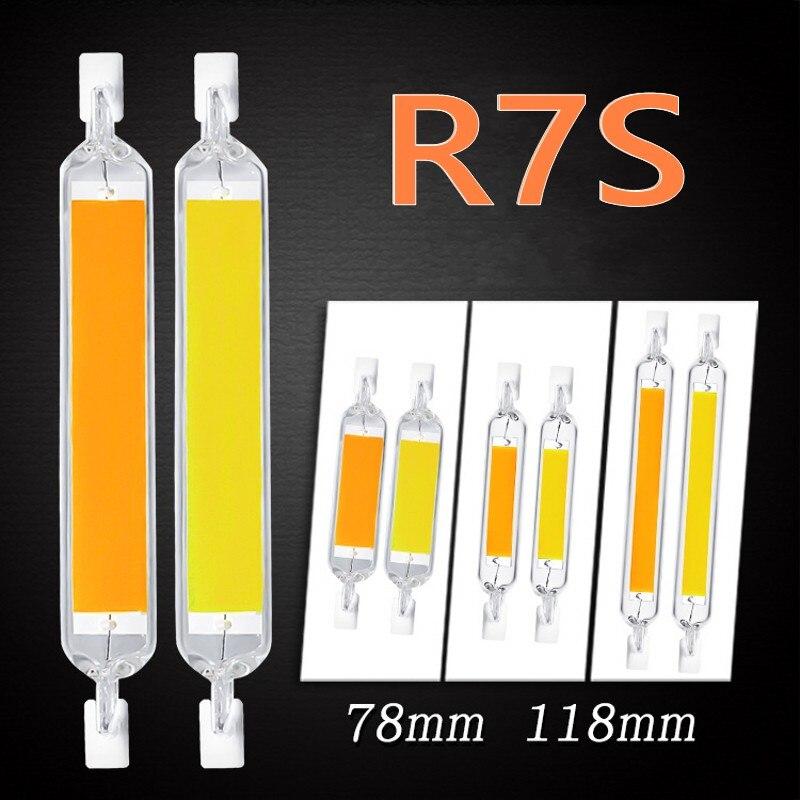LED R7S 78mm 15W 20W High Powerful Spotlight 118mm 30W 40W 50W 110V 220V COB Lamp Bulb Glass Tube Replace Halogen Light