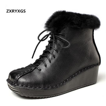 Handmade Retro 100% Natural Full Genuine Leather Boots Women Shoes Warm Snow Boots 2019 Fashion Elegant Ankle Boots Women Boots