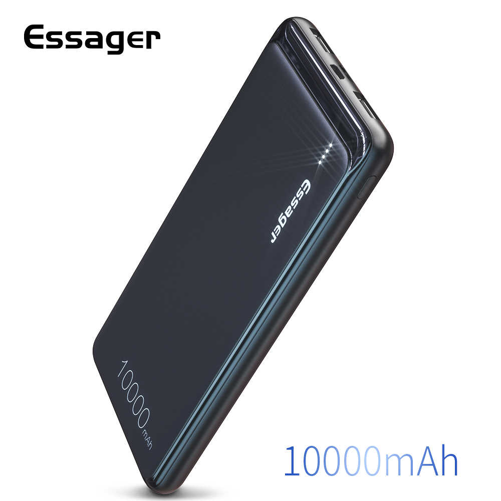 Essager 10000 MAh Dual USB Slim Power Bank Portable Charger Baterai Eksternal Pack untuk Iphone Samsung Xiaomi 10000 MAh Powerbank