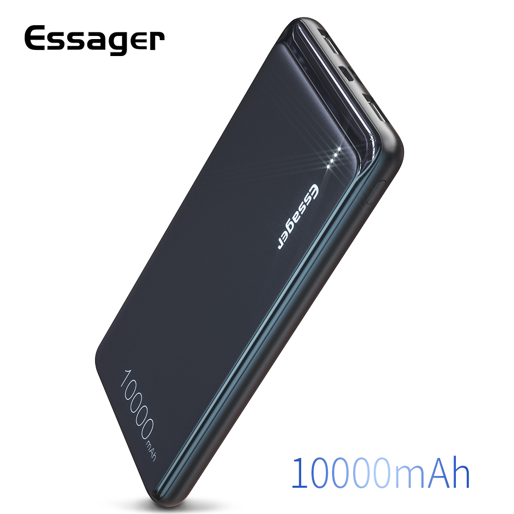 Essager 10000mAh Dual USB Slim Power Bank Portable External Battery Charger Pack For IPhone SAMSUNG Xiaomi 10000mAh Powerbank