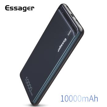 Essager 10000mAh Dual USB Slim Power Bank przenośna bateria zewnętrzna ładowarka-zestaw dla iPhone SAMSUNG Xiaomi 10000mAh Powerbank tanie i dobre opinie Do kamery Do smartfona Bateria litowo-polimerowa Rok wybudowania kable Micro Usb USB Typu C Z tworzywa sztucznego Przenośny Power Bank