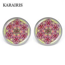 Karairis 2020 цветок жизни серьги Мандала хна круглые стеклянные