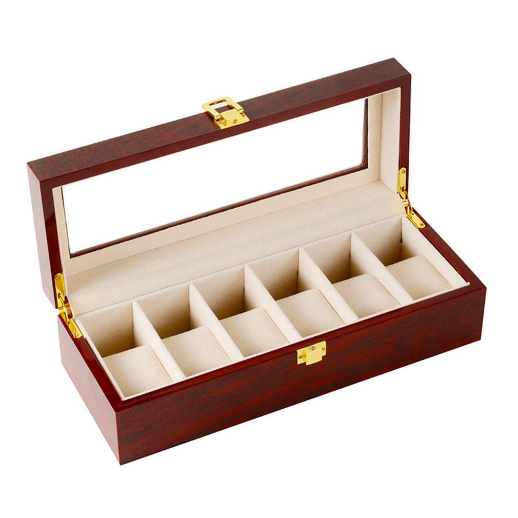 6 Slots Red Color Wood Material Watch Boxes For Men or Shop Display Watches Practical Jewelry Watch Storage Organizer Cases|Networking Tools| |  - title=
