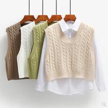 Women Short Knitted Sweater Sleeveless Women Loose Sweater Vest Ladies V-Neck Pullover Tank Tops Waistcoat Female Coats JW9899