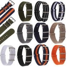 Ремешок сменный нейлоновый для наручных часов, Универсальный Регулируемый прочный браслет для часов, аксессуары 18 20 22 мм