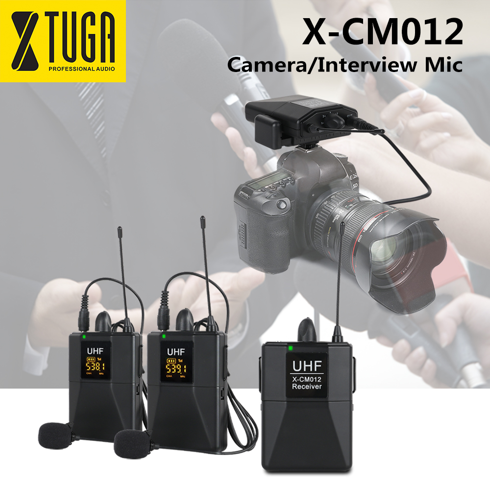 XTUGA X-CM012 UHF Dual Wireless Lavalier Microphone, UHF Lapel Mic System With 16 Selectable Channels Up To 164ft Range