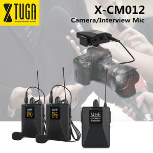 XTUGA X-CM012 UHF Dual Wireless Lavalier Microphone,Camera Mic,UHF Lapel Mic System with 16 selectable channel up to 164ft Range