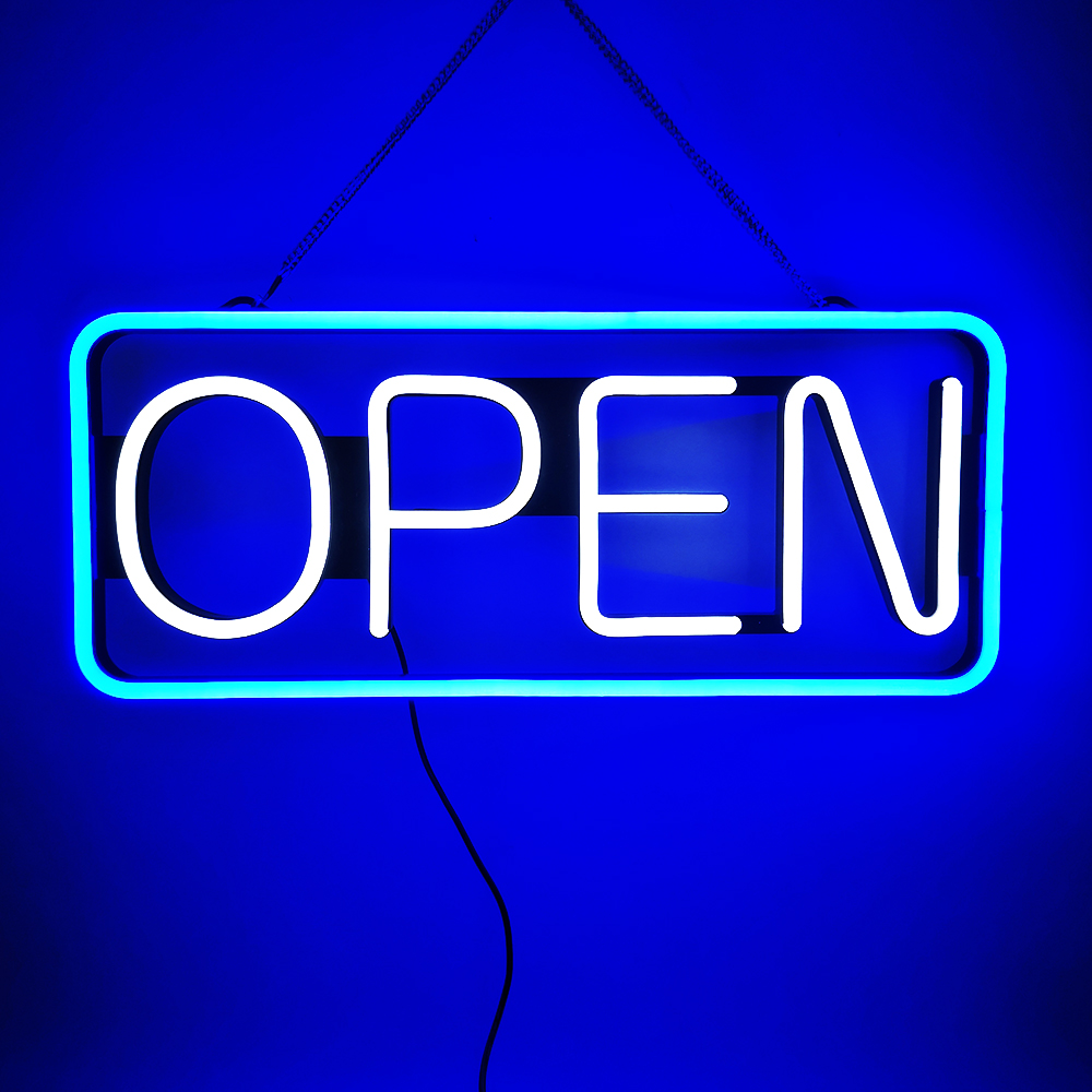 21''x9'' WORLD-DECO LED Neon OPEN Sign High Brightness Steady On Advertising Lighting For Business Shop Accessory