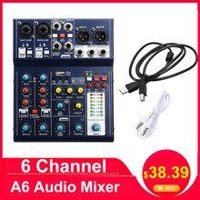 LEORY мини 6-канальный микшерная консоль USB запись компьютера 48В DSP эффект USB аудио смеситель A6 микшерный пульт караоке