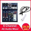 Consola de mezcla de sonido LEORY Mini 6 canales Ordenador de grabación USB 48V Phantom DSP efecto mezclador de Audio USB A6 consola de mezcla Karaoke