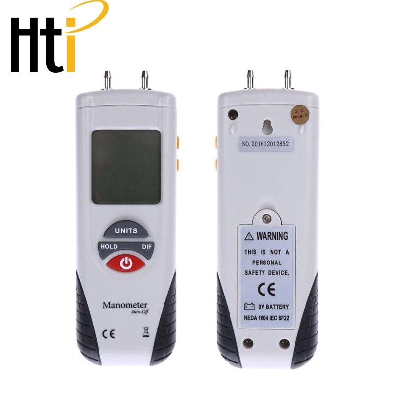 Hti Xintai Digital Manometer Dual Port Air Pressure Meter Pressure Gauge HVAC Gas Tester Large LCD Display with Backlight Basic Pressure Gauges     - title=