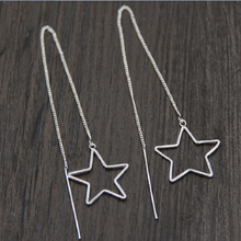 Silver 925 Jewelry Sterling Pentagonal Long Wire Earrings Exaggerate Female Fashion Festival Gifts