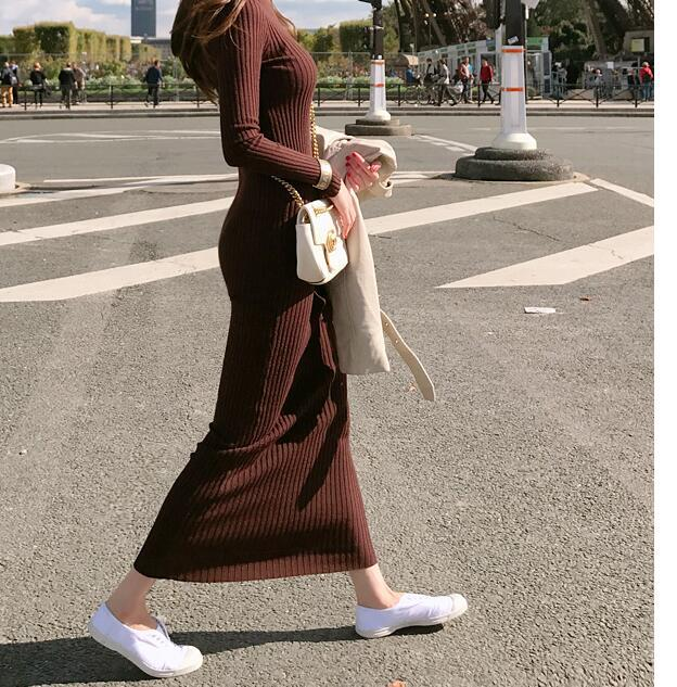Exta-long Sweater Skirt Over-the-Knee Slim Fit Slimming Base Jersey Dress Network Red Port Kong-Style Pullover Sweater Women's