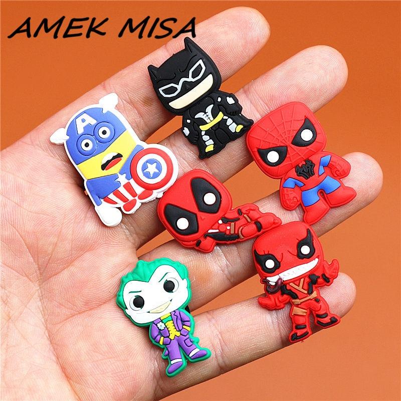 Single Sale 1pcs Shoe Charms Minion Batman Spiderman Deadpool Shoe Accessories Buckle Decorations Fit Croc JIBZ Kid's Gift X-mas